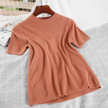 Wool knitwear Spring 2021 Average size Short sleeve singleton  Socket acrylic fibres 51% (inclusive) - 70% (inclusive) have cash less than that is registered in the accounts routine commute Self cultivation Half height crew neck routine Solid color Socket Korean version 18-24 years old thread
