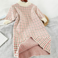 Dress Winter of 2019 Pink Average size Short skirt singleton  Short sleeve commute other High waist houndstooth  Socket other other Others 18-24 years old Type A Other / other Korean version 51% (inclusive) - 70% (inclusive) knitting