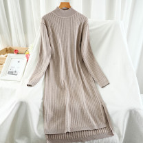 Dress Winter 2020 Black, apricot, coffee, khaki, light grey, dark grey Average size Short skirt singleton  Long sleeves commute Half high collar High waist Solid color Socket A-line skirt routine Others 18-24 years old Type A Korean version thread 51% (inclusive) - 70% (inclusive) knitting
