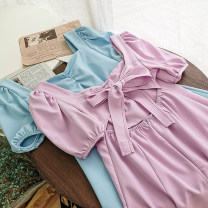 Dress Summer 2020 Blue, purple, black, pink Average size Short skirt singleton  Short sleeve commute square neck High waist Solid color Socket A-line skirt other Others 18-24 years old Type A Korean version 51% (inclusive) - 70% (inclusive)
