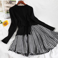 Dress Winter 2020 black Average size Short skirt singleton  Long sleeves commute Crew neck High waist lattice Socket A-line skirt routine Others 18-24 years old Type A Korean version Splicing 51% (inclusive) - 70% (inclusive) knitting acrylic fibres