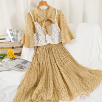 Dress Summer 2021 Black, yellow, apricot, pink Average size longuette singleton  elbow sleeve commute Doll Collar High waist Broken flowers Socket A-line skirt Others 18-24 years old Type A Korean version Lace 51% (inclusive) - 70% (inclusive) Chiffon other