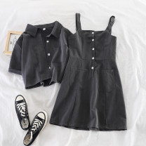 Fashion suit Summer of 2019 M, L Black, gray 18-25 years old Other / other 51% (inclusive) - 70% (inclusive) cotton