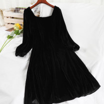 Dress Winter 2020 black S,M,L longuette singleton  Long sleeves commute square neck High waist Solid color Socket A-line skirt routine 18-24 years old Type A Korean version zipper 51% (inclusive) - 70% (inclusive)