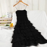 Dress Summer 2021 Black, white Average size longuette singleton  Sleeveless commute One word collar High waist Solid color Socket A-line skirt other camisole 18-24 years old Type A Korean version Splicing 51% (inclusive) - 70% (inclusive) Chiffon other