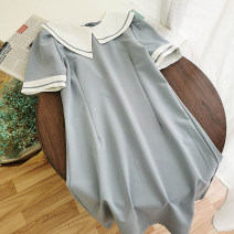 Dress Summer 2020 Blue, white, black M, L Short skirt singleton  Short sleeve commute Crew neck High waist Solid color zipper A-line skirt other Others 18-24 years old Type A Korean version 51% (inclusive) - 70% (inclusive) other
