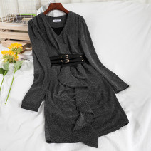 Dress Winter 2020 Black, gray Average size Short skirt singleton  Long sleeves commute V-neck High waist Solid color Socket One pace skirt routine 18-24 years old Type A Korean version Frenulum 51% (inclusive) - 70% (inclusive)