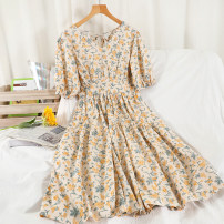 Dress Summer 2021 Yellow, orange, blue, rose powder Average size longuette singleton  Short sleeve commute V-neck High waist Broken flowers Socket A-line skirt routine Others 18-24 years old Type A Korean version printing 51% (inclusive) - 70% (inclusive) other other