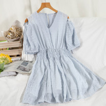 Dress Summer 2021 Black, white, blue, apricot Average size Short skirt singleton  Short sleeve commute V-neck High waist Solid color Socket A-line skirt routine Others 18-24 years old Type A Korean version 51% (inclusive) - 70% (inclusive) Chiffon other