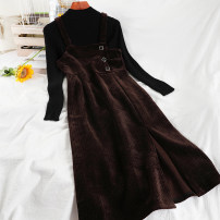 Dress Winter 2020 Black, coffee M, L longuette Two piece set Sleeveless commute Half high collar High waist other zipper A-line skirt routine straps 18-24 years old Type A Korean version straps 51% (inclusive) - 70% (inclusive) corduroy
