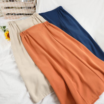 skirt Spring 2021 M, L Apricot, blue, black, orange longuette commute High waist A-line skirt Solid color Type A 18-24 years old 71% (inclusive) - 80% (inclusive) Chiffon other Korean version
