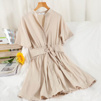 Dress Summer 2021 Black, gray, apricot, purple Average size Short skirt singleton  Short sleeve commute V-neck High waist Solid color Single breasted A-line skirt routine Others 18-24 years old Type A Korean version Button 51% (inclusive) - 70% (inclusive) other other