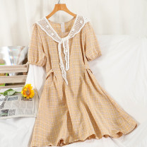 Dress Summer 2021 Yellow, gray, blue, green, dark pink, light pink Average size longuette singleton  Short sleeve commute square neck High waist lattice zipper A-line skirt routine Others 18-24 years old Type A Korean version printing 51% (inclusive) - 70% (inclusive) other other