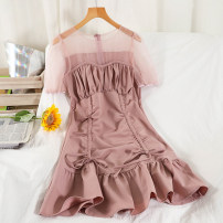 Dress Summer 2021 Black, yellow, pink M, L Short skirt singleton  Short sleeve commute Crew neck High waist Solid color zipper Pleated skirt routine 18-24 years old Type A Korean version Stitching, folding 51% (inclusive) - 70% (inclusive) knitting other