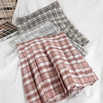 skirt Spring 2021 S,M,L Black, grey, brick red Short skirt commute High waist Pleated skirt lattice Type A 18-24 years old 51% (inclusive) - 70% (inclusive) other other fold Korean version