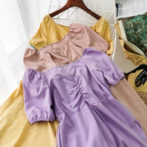 Dress Summer 2020 Blue, green, yellow, purple, red, black, pink Average size Mid length dress singleton  Short sleeve commute One word collar High waist Solid color Socket Big swing other Others 18-24 years old Type A Korean version 51% (inclusive) - 70% (inclusive) other