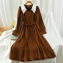 Dress Autumn 2020 Black, navy blue, caramel, army green Average size longuette singleton  Long sleeves commute Polo collar High waist Solid color Single breasted A-line skirt routine 18-24 years old Type A Korean version Button 51% (inclusive) - 70% (inclusive)