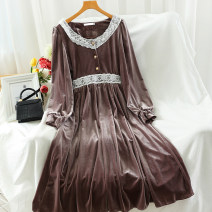 Dress Autumn 2020 Black, brown, coffee M, L Mid length dress singleton  Long sleeves commute V-neck High waist Solid color Socket A-line skirt routine 18-24 years old Type A Korean version Splicing 51% (inclusive) - 70% (inclusive)