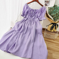 Dress Summer 2020 Average size Mid length dress singleton  commute square neck High waist Solid color Socket A-line skirt pagoda sleeve Others 18-24 years old Type A Korean version 51% (inclusive) - 70% (inclusive) other other