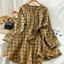Dress Autumn 2020 yellow , red , Coffee Average size longuette singleton  Long sleeves commute V-neck High waist lattice Single breasted routine 18-24 years old Type A Korean version Button 51% (inclusive) - 70% (inclusive) cotton