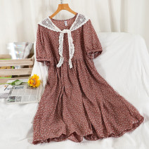 Dress Summer 2021 Apricot, black, white, Navy, brick red Average size longuette singleton  Short sleeve commute square neck High waist Broken flowers Socket A-line skirt routine 18-24 years old Type A Korean version printing 51% (inclusive) - 70% (inclusive) Chiffon other