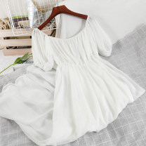 Dress Spring 2021 white Average size longuette singleton  Short sleeve commute One word collar High waist Solid color Socket A-line skirt puff sleeve Others 18-24 years old Type A Korean version fold 51% (inclusive) - 70% (inclusive) Chiffon polyester fiber