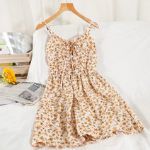 Dress Summer 2021 Average size Short skirt singleton  Short sleeve commute V-neck High waist Decor Socket A-line skirt routine camisole 18-24 years old Type A Korean version printing 51% (inclusive) - 70% (inclusive) Chiffon other