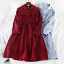 Dress Autumn of 2019 Red, black, green, brown, brick red, dark blue, light blue, khaki, pink, navy Average size Mid length dress singleton  Long sleeves commute Polo collar High waist Solid color Socket A-line skirt shirt sleeve Others 18-24 years old Type A Other / other Korean version other