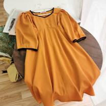 Dress Summer 2020 Black, white, blue, orange Average size Short skirt singleton  Long sleeves commute V-neck High waist Solid color Socket A-line skirt routine 18-24 years old Type A Korean version zipper 51% (inclusive) - 70% (inclusive)