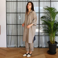 Pajamas / housewear set female Other / other Average size cotton Long sleeves luxurious Leisure home autumn routine Small lapel Solid color trousers Front buckle youth 2 pieces rubber string More than 95% Cotton and hemp Middle-skirt