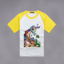 T-shirt White, red edge, red sleeve, blue sleeve, black sleeve, yellow sleeve Other / other 90cm,100cm,110cm,120cm,130cm,140cm,150cm,160cm,170cm,175cm,180cm,185cm neutral No season Short sleeve Crew neck No model nothing Cartoon animation Cotton 100% Class A Sweat absorption