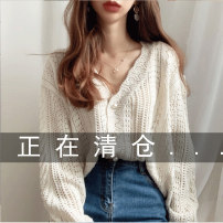 Wool knitwear Winter 2020 S M L XL XXL XXXL Beibai Avocado Green Long sleeves singleton  Cardigan acrylic fibres 51% (inclusive) - 70% (inclusive) Regular Thin money commute easy V-neck routine Solid color Single breasted 18-24 years old Zuozif / Zhuo Zifeng Hollowing out
