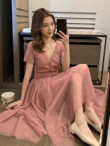 Women's large Summer 2021 Lotus root pink haze blue black S M L XL Dress singleton  commute Self cultivation Short sleeve Solid color Korean version V-neck polyester fiber routine HD21030708 Haodai 18-24 years old longuette Other 100% Pure e-commerce (online only)