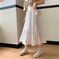 skirt Summer 2021 Average size White, purple, black Mid length dress commute High waist A-line skirt Solid color Type A 18-24 years old 91% (inclusive) - 95% (inclusive) other Korean version