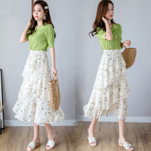 skirt Spring 2021 Average size Red, green Mid length dress Versatile Natural waist Cake skirt other Type A 18-24 years old Chiffon polyester fiber Lotus leaf edge
