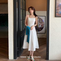 Dress Summer 2021 Xiancao white (in stock) S M L Mid length dress singleton  Sleeveless commute square neck High waist Solid color Socket A-line skirt camisole 25-29 years old Type A Jomess Korean version Stitching jacquard JP1-2189-B More than 95% other other Other 100% Pure e-commerce (online only)