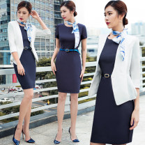 Professional dress suit S,M,L,XL,XXL,XXXL White, Navy, white suit + Navy Dress, white suit + blue dress, blue dress Autumn of 2018 three quarter sleeve C89+Q43 Jacket, other styles Suit skirt 25-35 years old AI Shangchen 96% and above polyester fiber