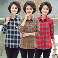shirt Gray, yellow, red XL,2XL,3XL,4XL Autumn of 2019 cotton 96% and above Long sleeves commute Regular Polo collar Single row multi button shirt sleeve lattice Straight cylinder Fashion Plaid Shirt pocket cotton