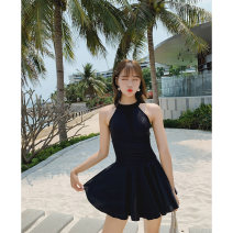 one piece  lyric black Skirt one piece With chest pad without steel support Nylon, spandex, polyester, others Spring of 2019 female Sleeveless Solid color