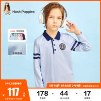 T-shirt Grey dark sapphire blue Tata powder ice crystal blue white Hush Puppies / Hush Puppies 105cm 110cm 120cm 130cm 140cm 150cm 160cm 170cm male spring and autumn Long sleeves Lapel and pointed collar leisure time There are models in the real shooting nothing cotton other Cotton 100% HPPCBD45CP558