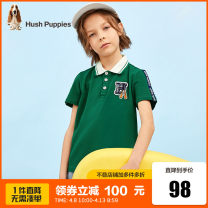 T-shirt Ice crystal blue pine leaf green deep navy blue Hush Puppies / Hush Puppies 105cm 110cm 120cm 130cm 140cm 150cm 160cm 170cm male summer Short sleeve Lapel and pointed collar leisure time There are models in the real shooting nothing cotton Solid color HPPXBD04CP552 Class B Summer 2021