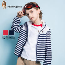 Plain coat Hush Puppies / Hush Puppies male 105cm 110cm 120cm 130cm 140cm 150cm 160cm 170cm Navy classic red spring and autumn leisure time Zipper shirt There are models in the real shooting routine Detachable cap stripe other other HPNCBD48CC544 Polyester 100% Class C Autumn 2020