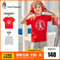 suit Hush Puppies / Hush Puppies This white ice crystal blue powder Argo fluorescent green flower grey sunshine orange cherry red collection add powder 105cm 110cm 120cm 130cm 140cm 150cm 160cm 170cm male summer leisure time Short sleeve + pants 2 pieces routine Socket nothing Cartoon animation