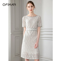 Dress Summer 2021 S M L XL Mid length dress singleton  Short sleeve commute One word collar middle-waisted Solid color zipper A-line skirt routine Others 30-34 years old Type X Ofiman / ofiman Ol style 30% and below cotton