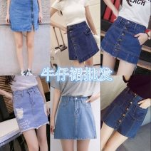 skirt Summer of 2018 10 yuan for 10 pieces, 9.7 yuan for 30 pieces, 9.5 yuan for 50 pieces, 9 yuan for 100 pieces and 8.5 yuan for 300 pieces A number of random delivery, 25 yards - 31 yards are sent Short skirt Versatile Natural waist Denim skirt Solid color Type A 18-24 years old Denim