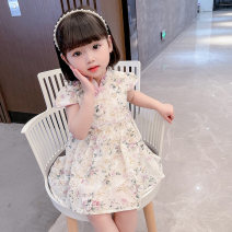 cheongsam 90 100 110 120 130 Purple Lace Chiffon Dress Polyester 100% Bullet baby There are models in the real shooting summer Broken flowers DWBB1417 Summer 2021 12 months, 18 months, 2 years old, 3 years old, 4 years old, 5 years old, 6 years old