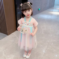Tang costume 90 100 110 120 130 Polyester 100% female summer There are models in the real shooting Thin money Bullet baby Solid color Cotton liner 12 months, 6 months, 9 months, 18 months, 2 years, 3 years, 4 years, 5 years, 6 years Summer 2021