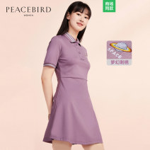 Dress Summer of 2019 Grayish purple S M L XL Short skirt singleton  Short sleeve street Polo collar middle-waisted Abstract pattern Single breasted other routine Others 25-29 years old Type X Peacebird Embroidery A5FA8370164 31% (inclusive) - 50% (inclusive) other nylon Sports & Leisure