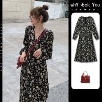 Dress Spring 2021 S M L XL 2XL 3XL 4XL Mid length dress singleton  Long sleeves Sweet V-neck High waist Broken flowers Socket A-line skirt routine Others 18-24 years old Type A Y6y Embroidery and printing with fringes and ruffles 8-18AX118 More than 95% Chiffon polyester fiber Polyester 100%