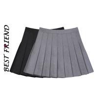 skirt Summer 2021 S,M,L,XL,XXL Gray, black, white Short skirt Versatile High waist Pleated skirt Solid color Type A fold